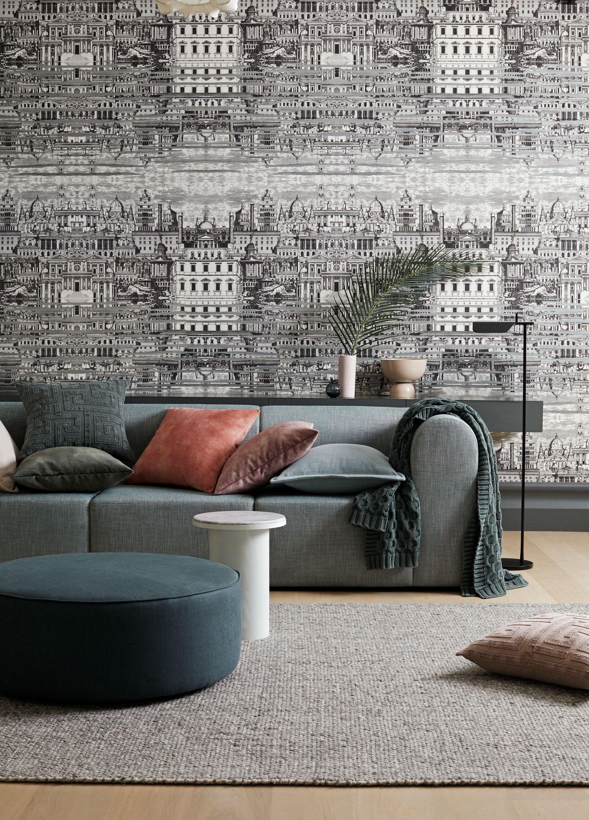Grey Living Room With Wallpaper Velvet Cushions In 2020