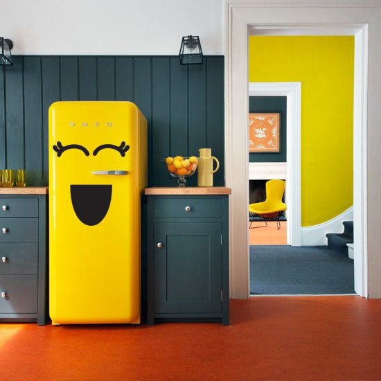 Fridge sticker vinyl decal for refrigerator freezer smiley face kitchen decoration