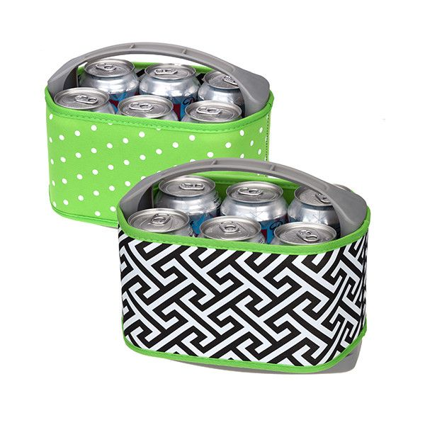 Occasionally Made Neoprene Six Pack Cooler- (Greek Key/Lime Dot)