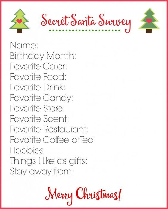 Secret Santa Survey Printable Secret Santa Gift Exchange
