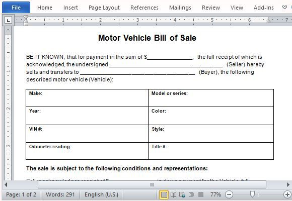 motor vehicle bill of sale word
