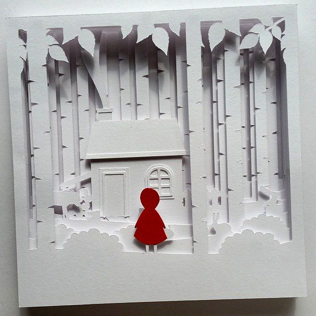 image of little red shadow box papercutting template paper