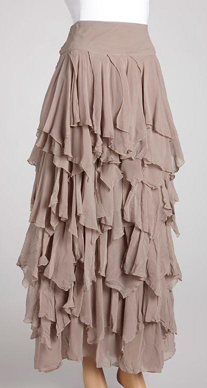 2aa9a994597f21 Light Gray Ruffle Tiered Maxi Skirt