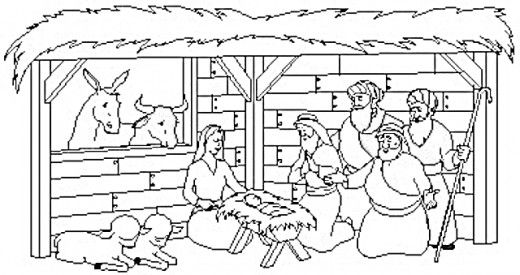birth of jesus in stable coloring page