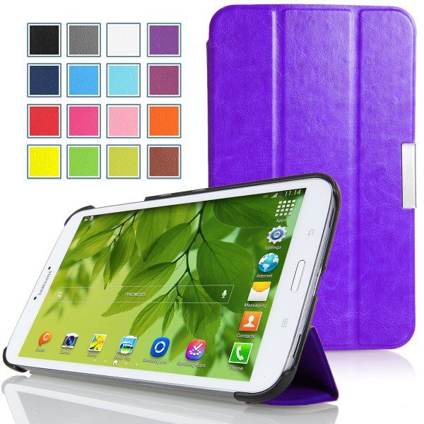 Moko Samsung Galaxy Tab 3 8 0 Case Ultra Slim Lightweight Smart Shell Stand Case Purple With Smart Auto Wake Sleep Feature Ama Galaxy Tablet Smart Auto Samsung Galaxy