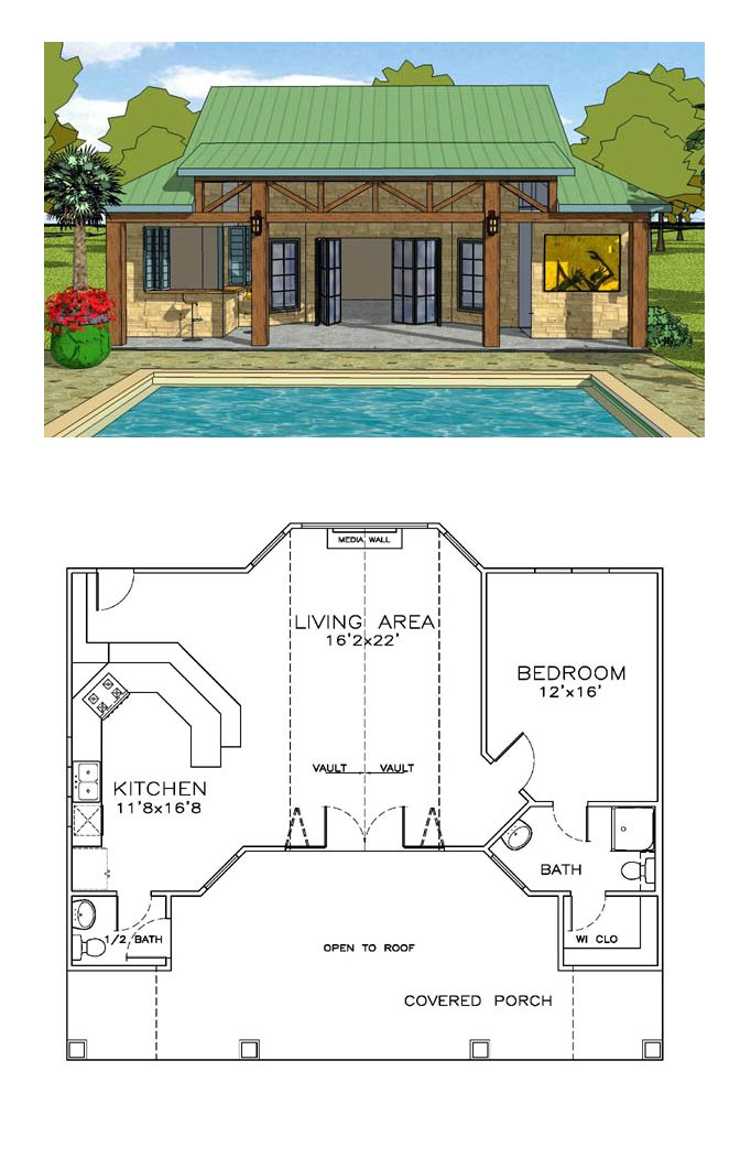 Craftsman Style House Plan 57863 With 1 Bed 2 Bath Pool House Plans Coastal House Plans Craftsman Style House Plans
