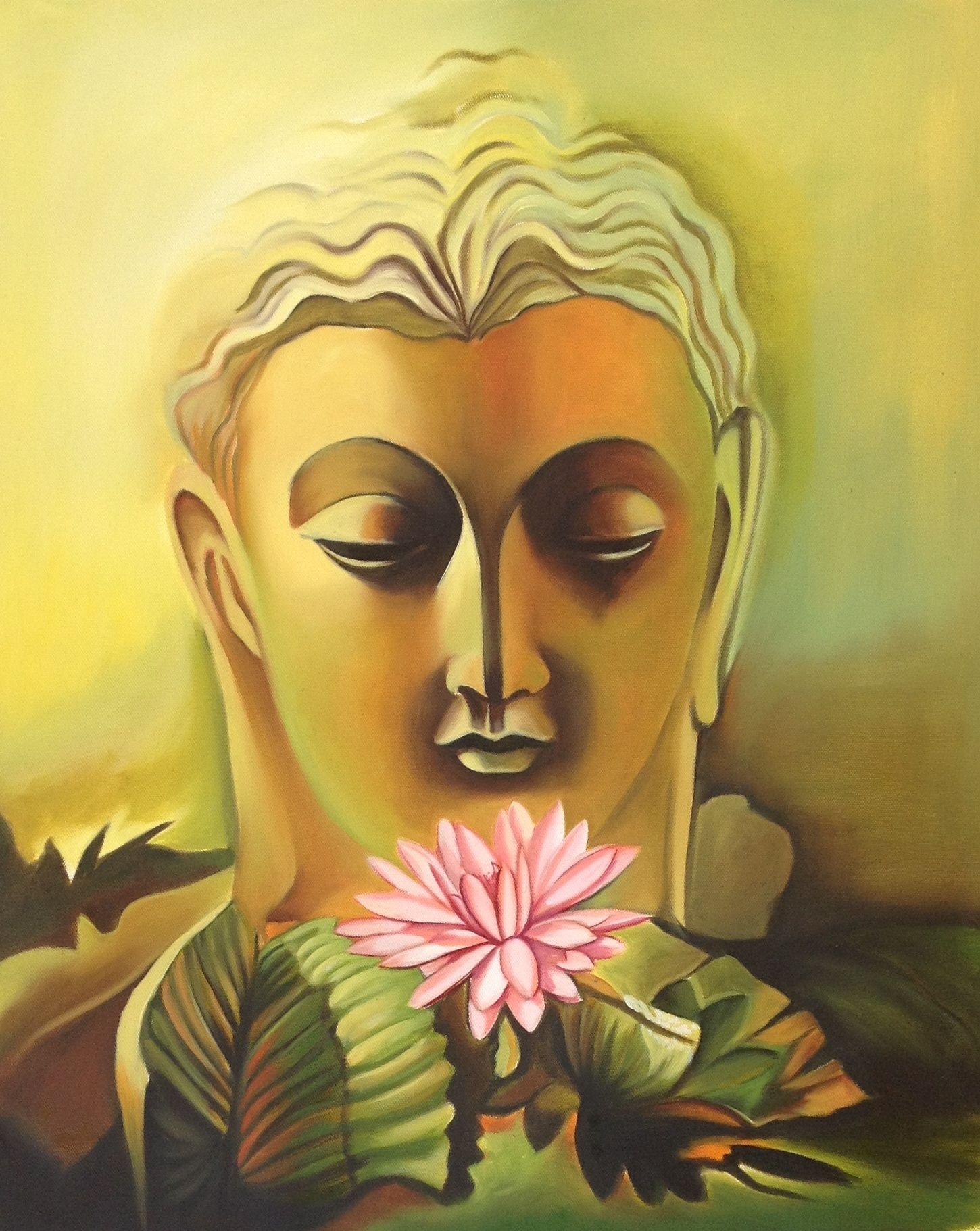 Buddha Canvas Oil Art Handmade Indian Buddhist Spiritual Wall ...