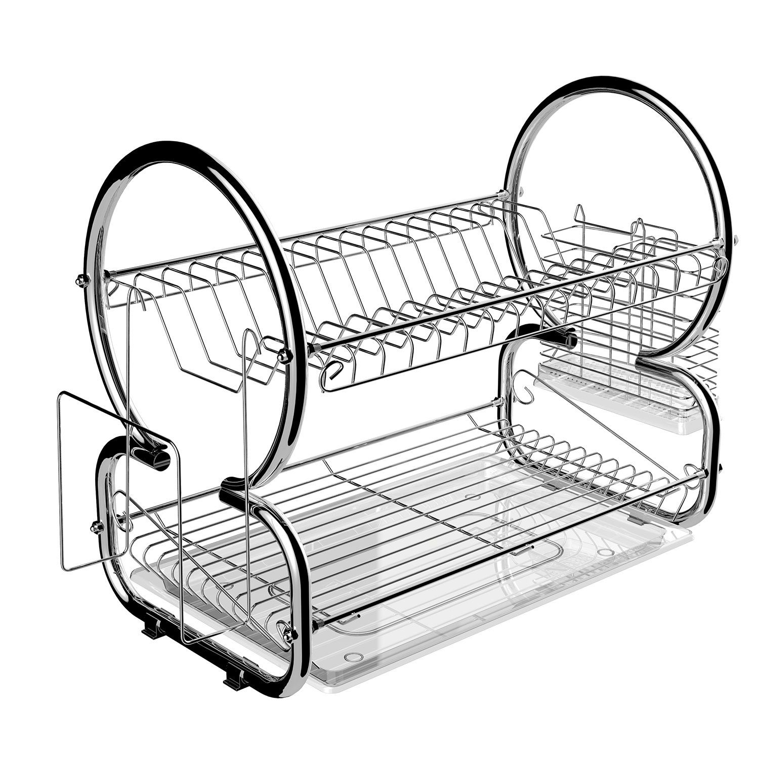 Stainless Steel 2 Tier Dish Rack Kitchen Cup Drainer Rack With