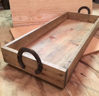 Rustic Wooden Tray Horseshoe Handles By Crowldesigns On Etsy Wooden Tray Texas Style Decor Wooden