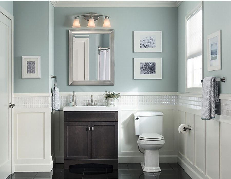 Etonnant Hide Toiletries Tastefully In A Dark Vanity. A Cool, Pale Blue Wall Color  Keeps The Room Current And Fresh.