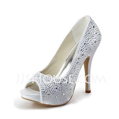 Women's Satin Stiletto Heel Peep Toe Platform Sandals With Rhinestone (047011800) - JJsHouse