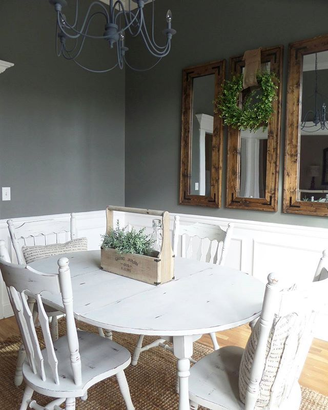 Dining Room With Chalk Painted Table Paint Color Is Porcelain Shale From Valspar