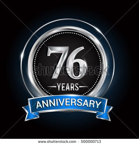 76 Years Anniversary Logo With Silver Ring And Blue Ribbon Vector