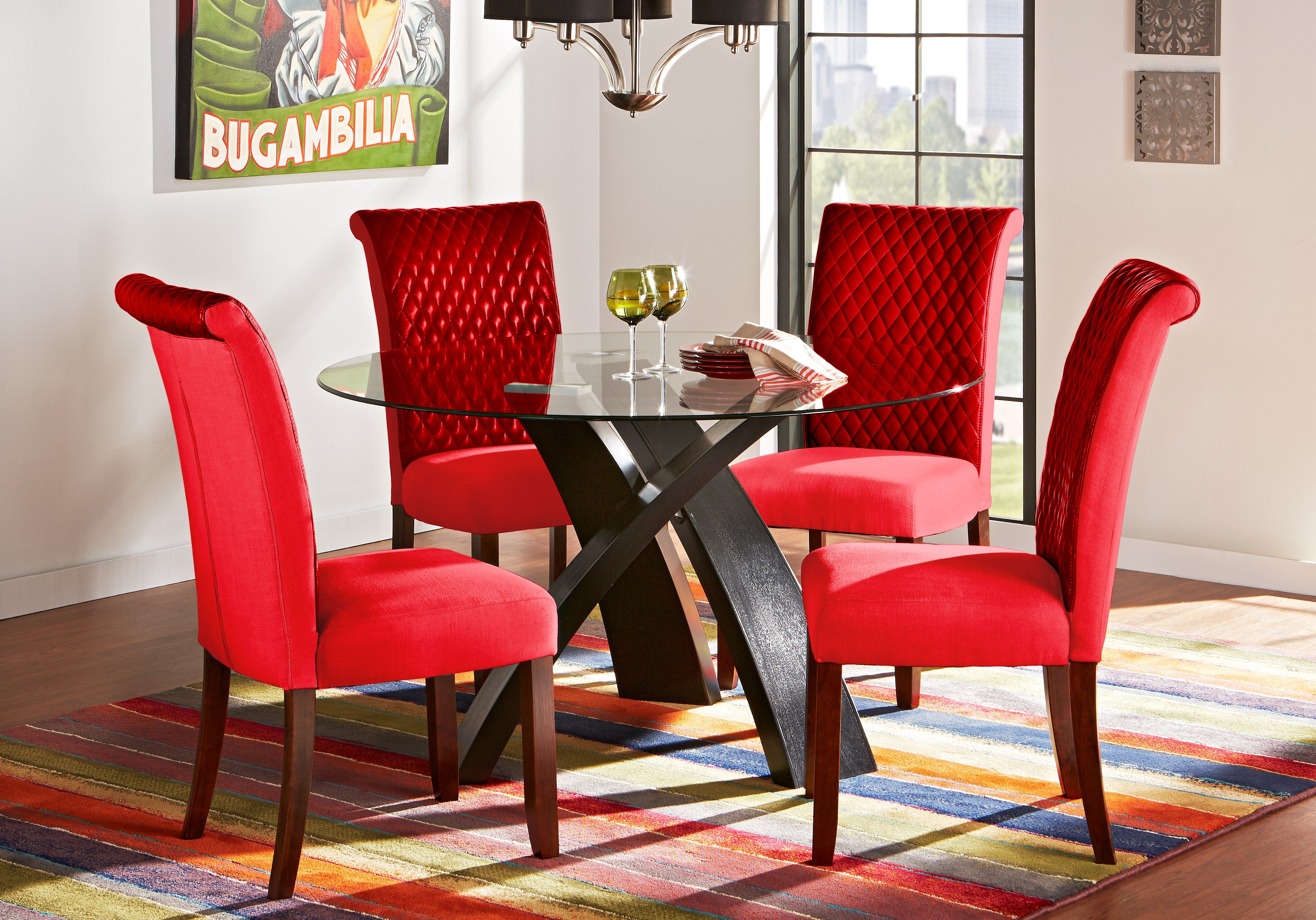 Del Mar Ebony 5 Pc Round Dining Set with Red Chairs | Round ...