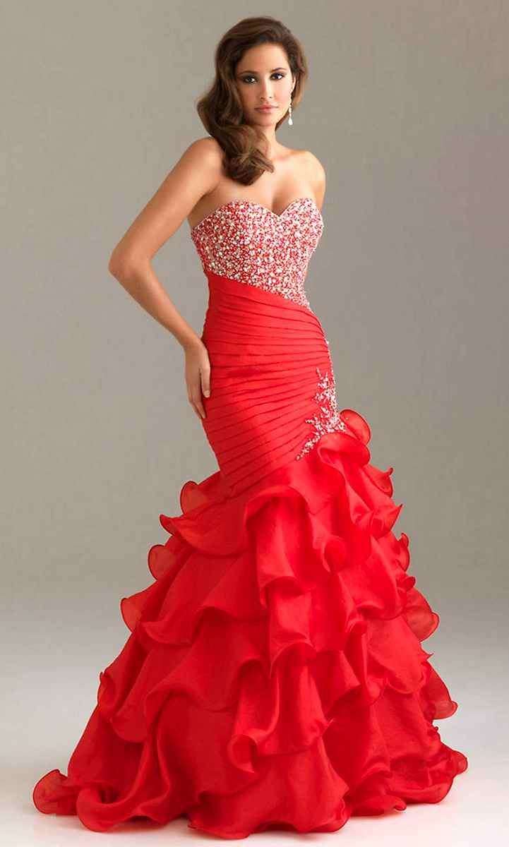 Long strapless red prom dress post as typed lace wedding