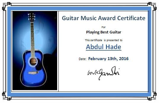 Guitar Music Award Certificate Template  Worksheets