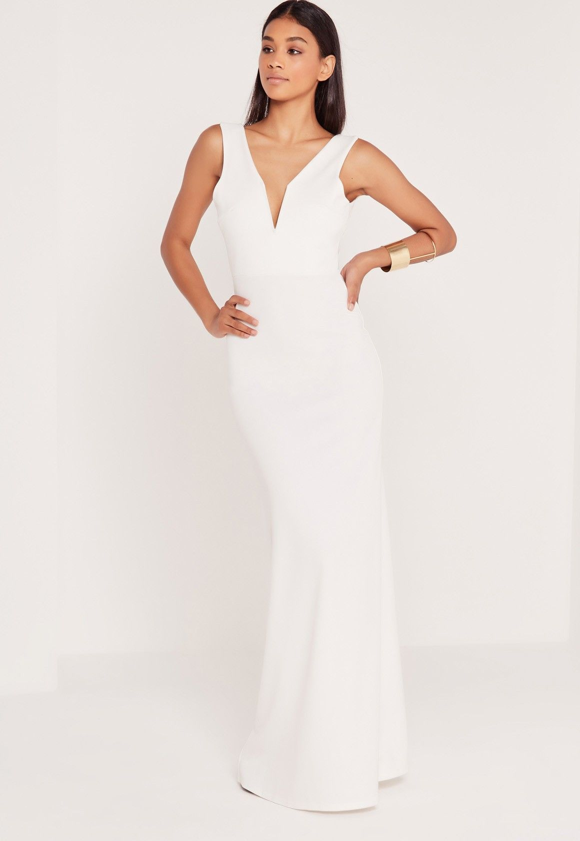 V plunge maxi dress white missguided maxi dresses and formal