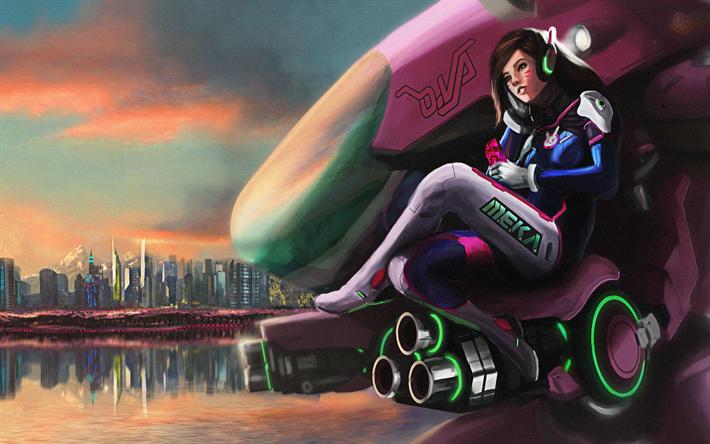 Herunterladen Hintergrundbild Dva Kunst 4k Zeichen Overwatch