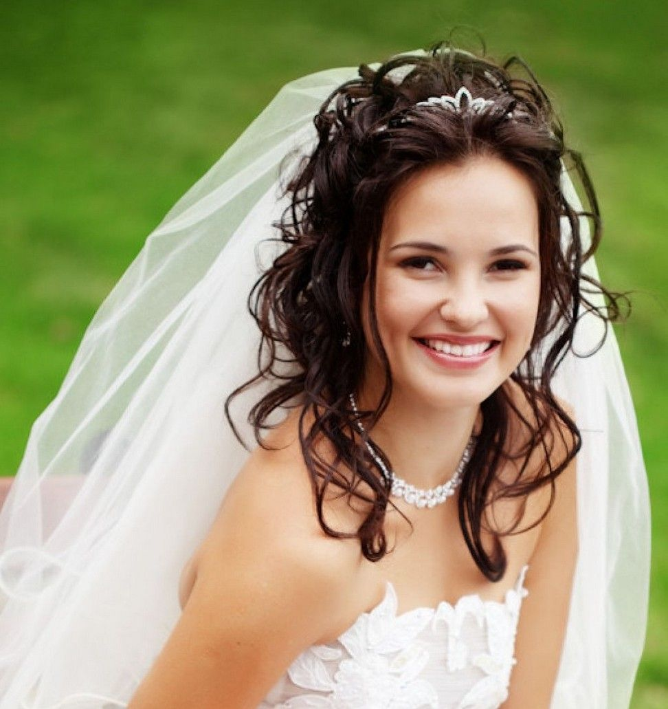 Bridal tiaras and veils - Long Hair With Veils Wedding Hairstyles Wedding Hairstyles Half Up With Veil