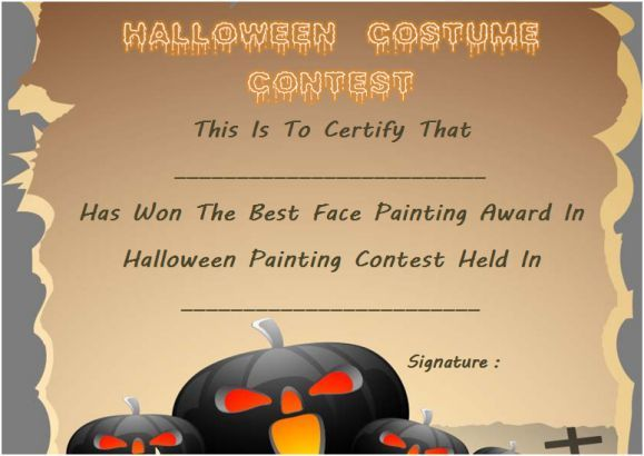 Best Face Painting Award Template Halloween Costume Certificate - award template