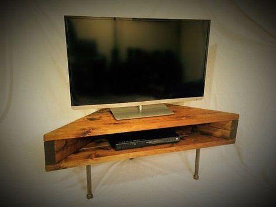 Tv Standmedia Standtv Cabinetshelfcorner Shelftv Corner Etsy In 2020 Corner Tv Corner Tv Shelves Wall Mounted Tv