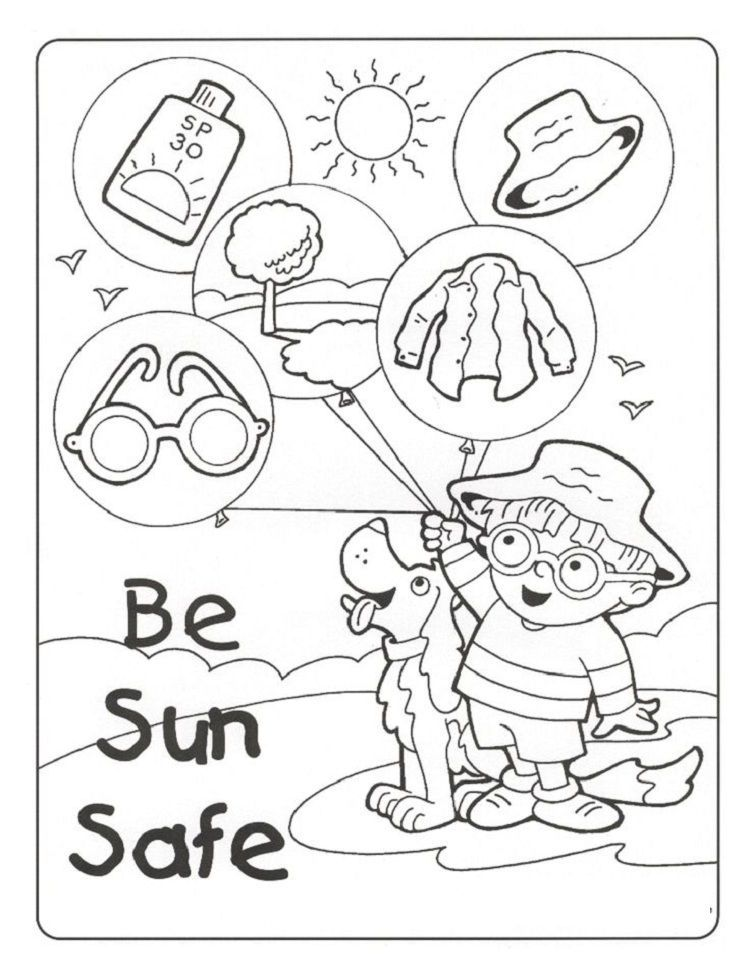 Summer Safety Coloring Pages Download Or Print The Image Below