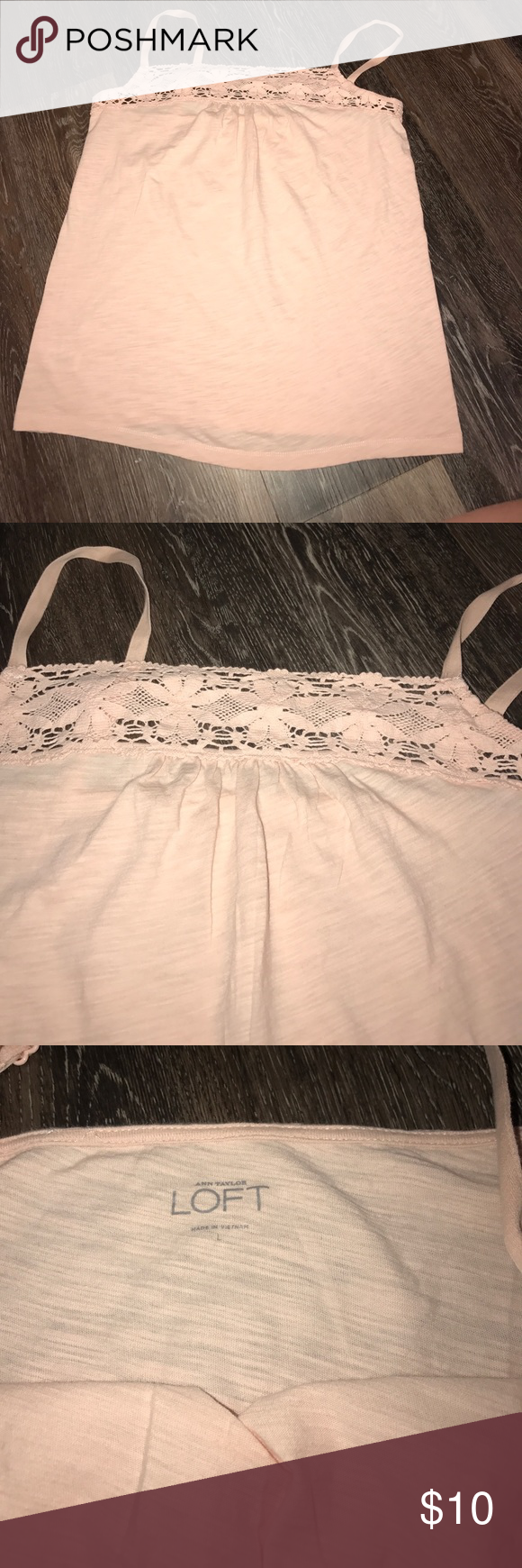 """Loft Large Lace Trim Topped Camisole Peach EUC Loft Large Lace Trim Topped Camisole Peach/Blush Color.  EUC!  Beautiful Tank / Cami. Can wear all year round! Adjustable straps. Measures approximately 17"""" across chest and 20"""" from neckline to bottom. Gorgeous lace top! LOFT Tops Camisoles"""