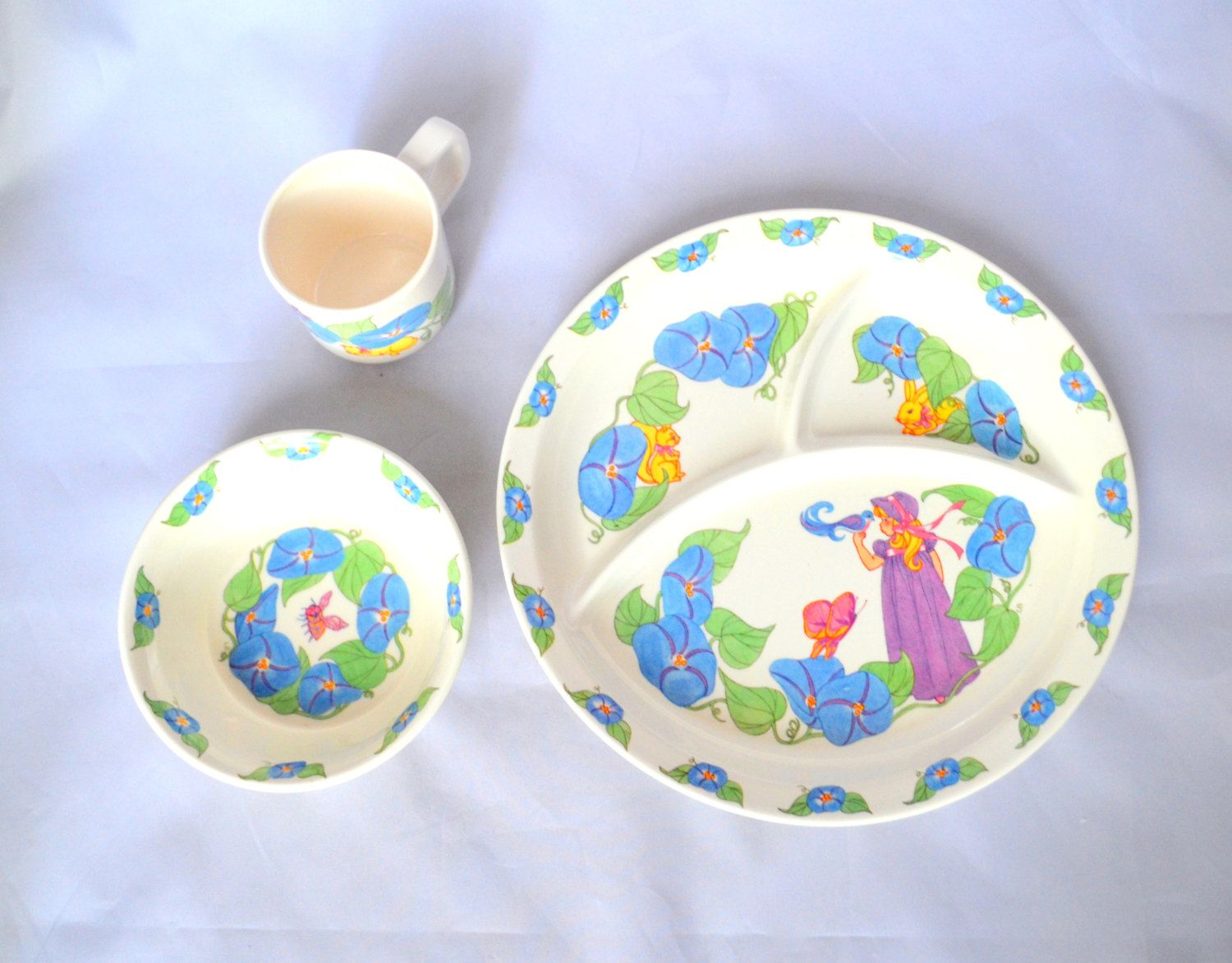Vintage Anacapa Melamine Ware 3 Piece Children 39 S Dish Set Divided Plate Bowl And Cup Girl With Blue Flowers And Anima Childrens Dishes Dish Sets Vintage
