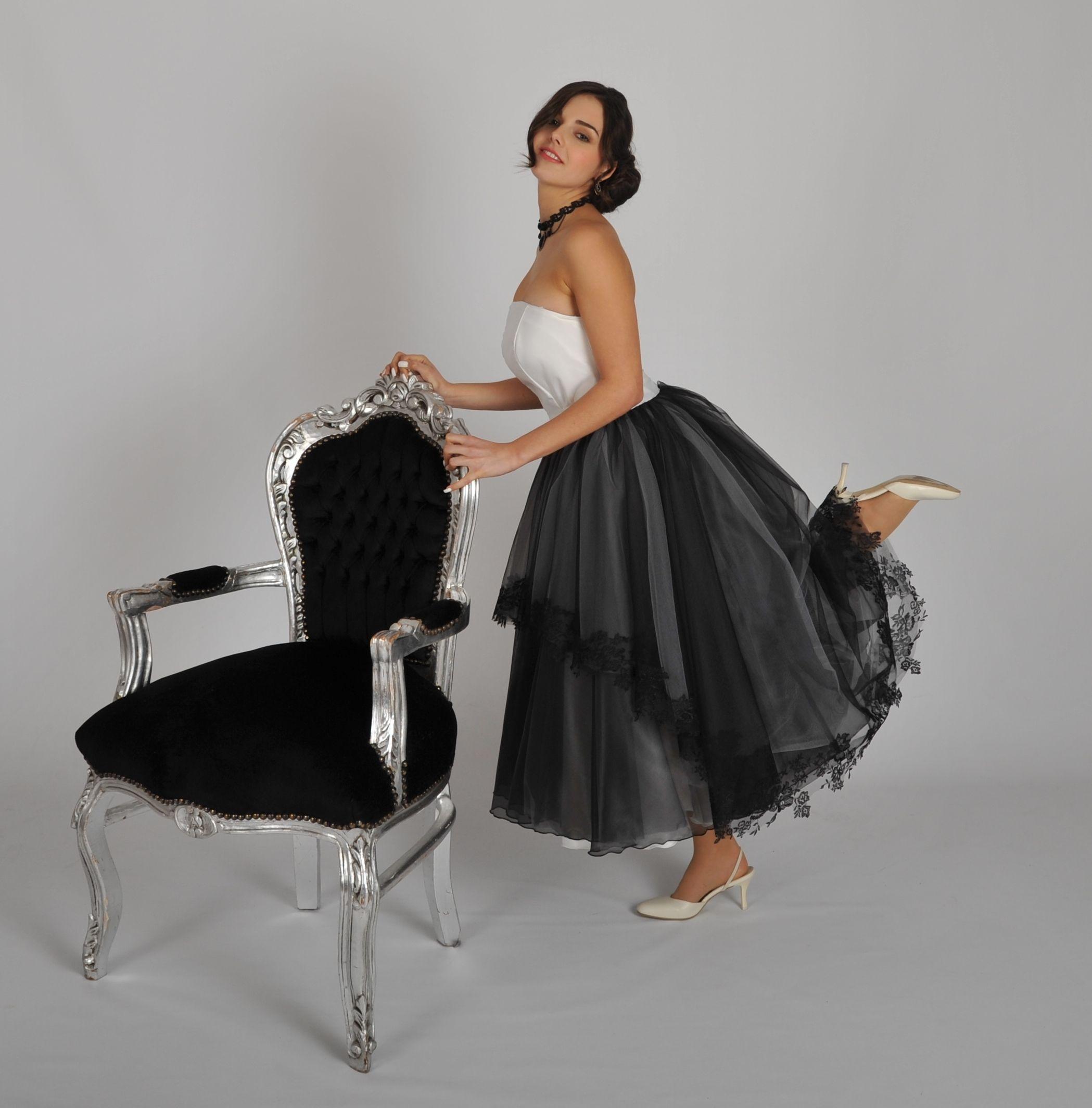 Einzigartiges Brautkleid schwarz weiss von AngiVani Couture München ...