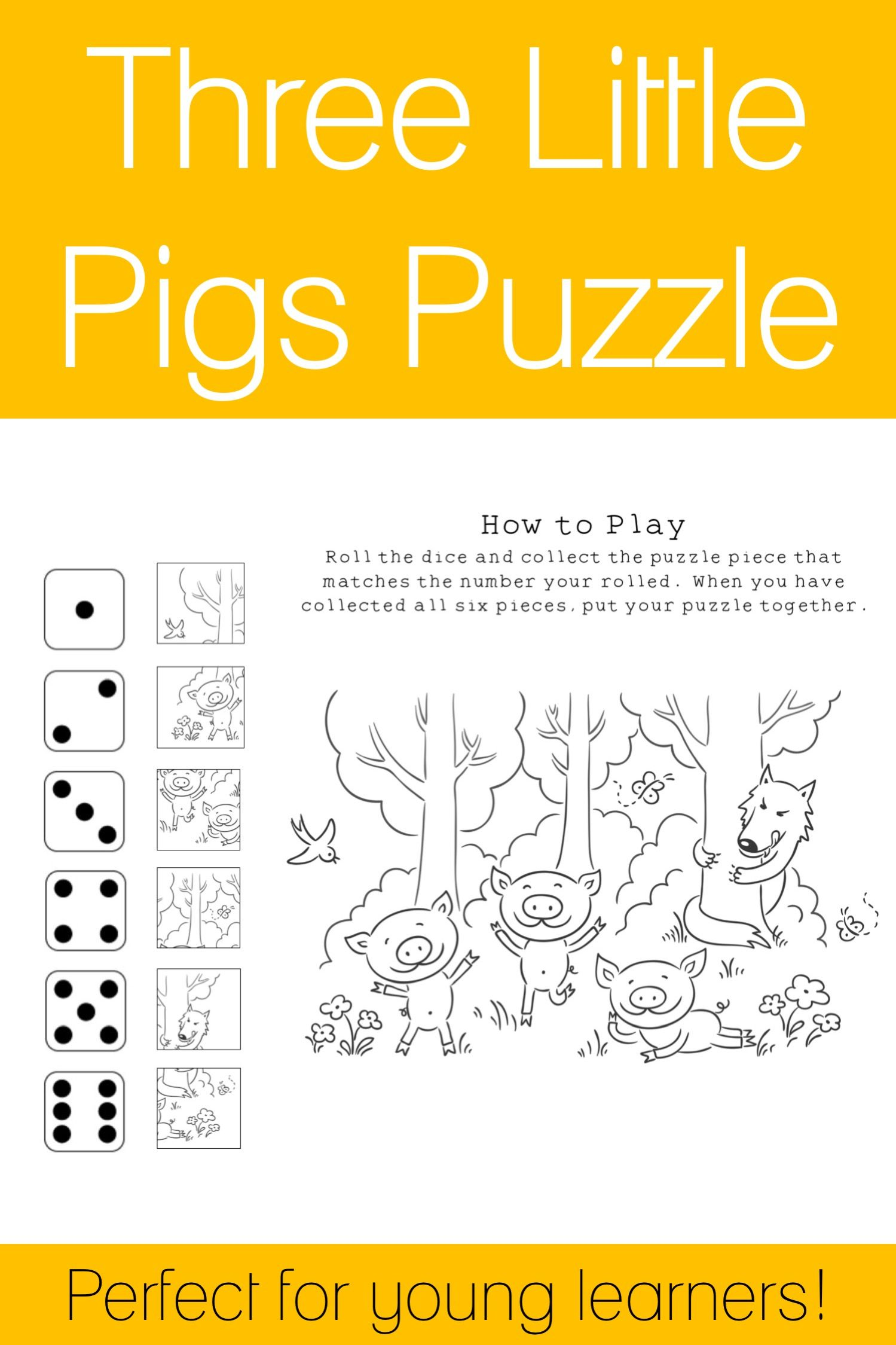 Three Little Pigs Puzzle Black And White
