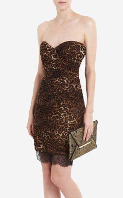 Cheap BCBG Max Azria Leopard Print Strapless Dress [BCBG Leopard ...