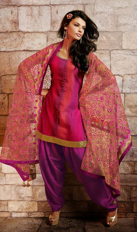 Magenta and Red Shade Art Silk Patiala Suit Price: Usa Dollar $162, British UK Pound £95, Euro119, Canada CA$175 , Indian Rs8748.