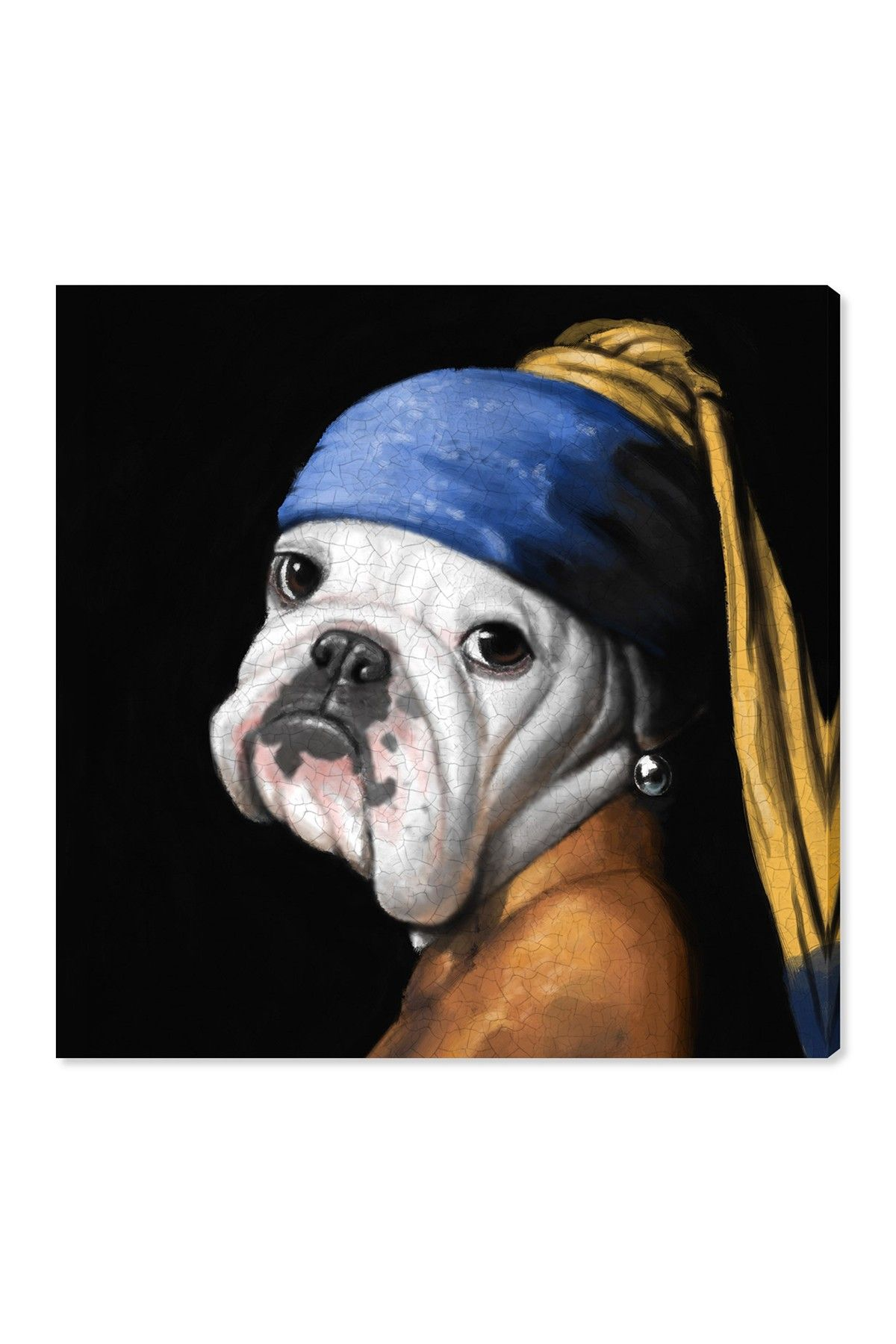 Oliver Gal Gallery Dog With the Pearl Earring Square