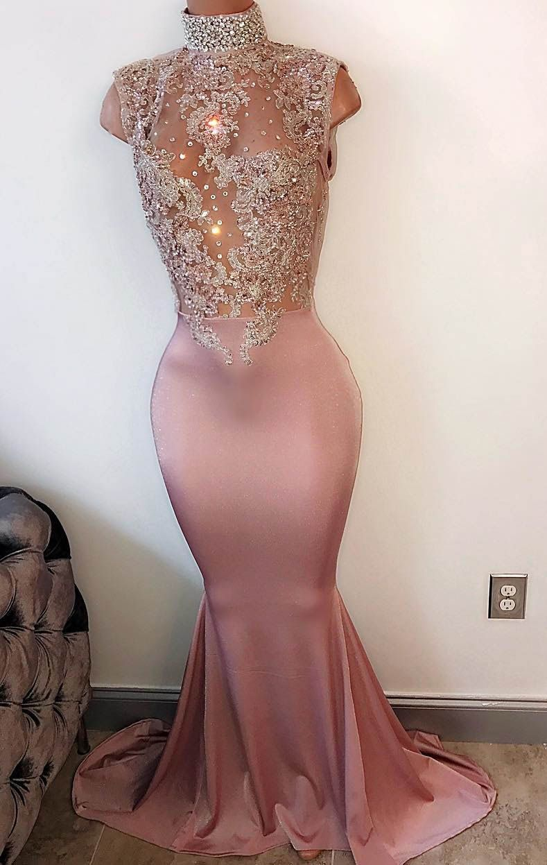 Peach pink satin illusion beaded high neck sleeveless mermaid long