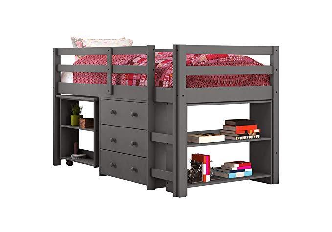 Donco Kids Low Loft Bed with Desk, Twin, Dark