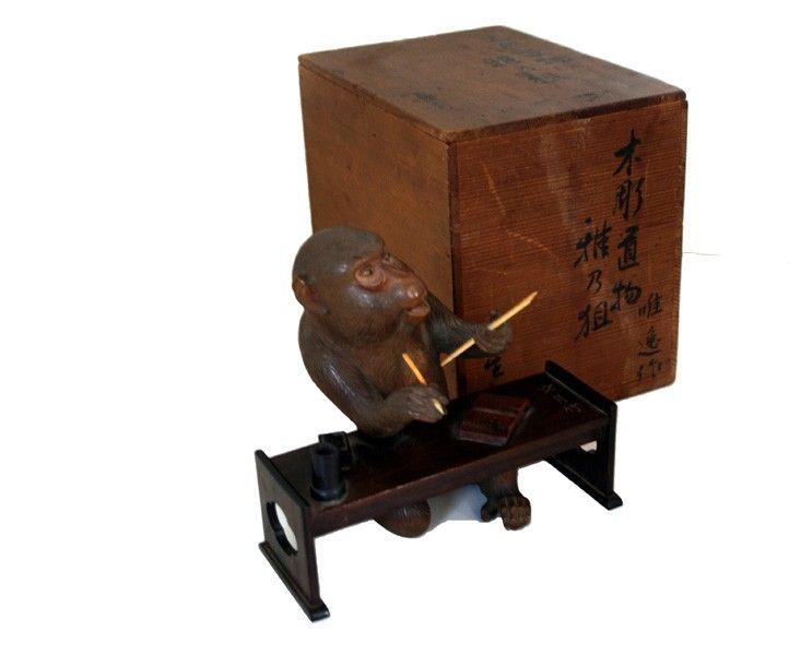 japanese okimono | Japanese carved wood okimono signed Uetzu. Carved of monkey ...