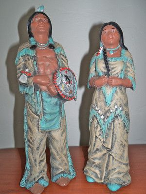 Vintage North American Native Indian Tall Couple Figures Ceramic Clay Figurine | eBay