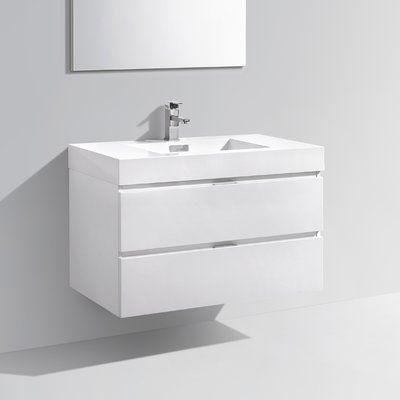 Photo of Tenafly 36″ Wall-Mounted Single Bathroom Vanity Set Base Finish: White