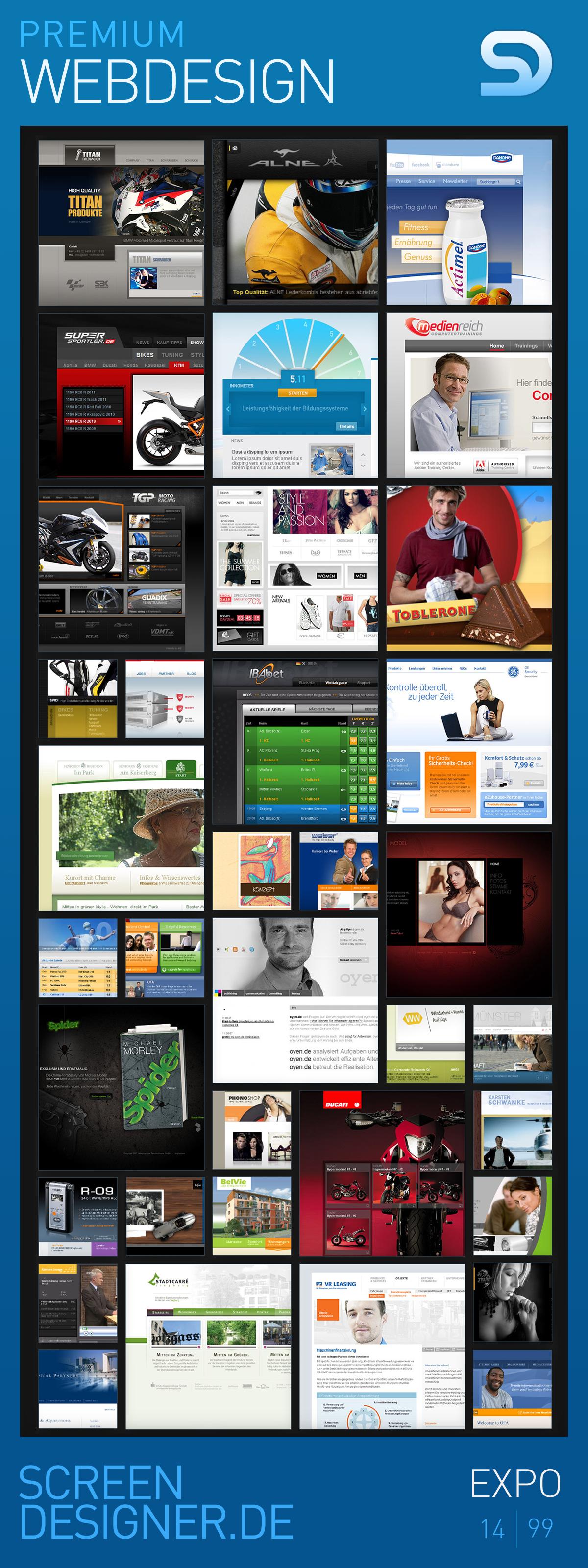 Premium Webdesign Projekte aus der www.screendesigner.de/expo