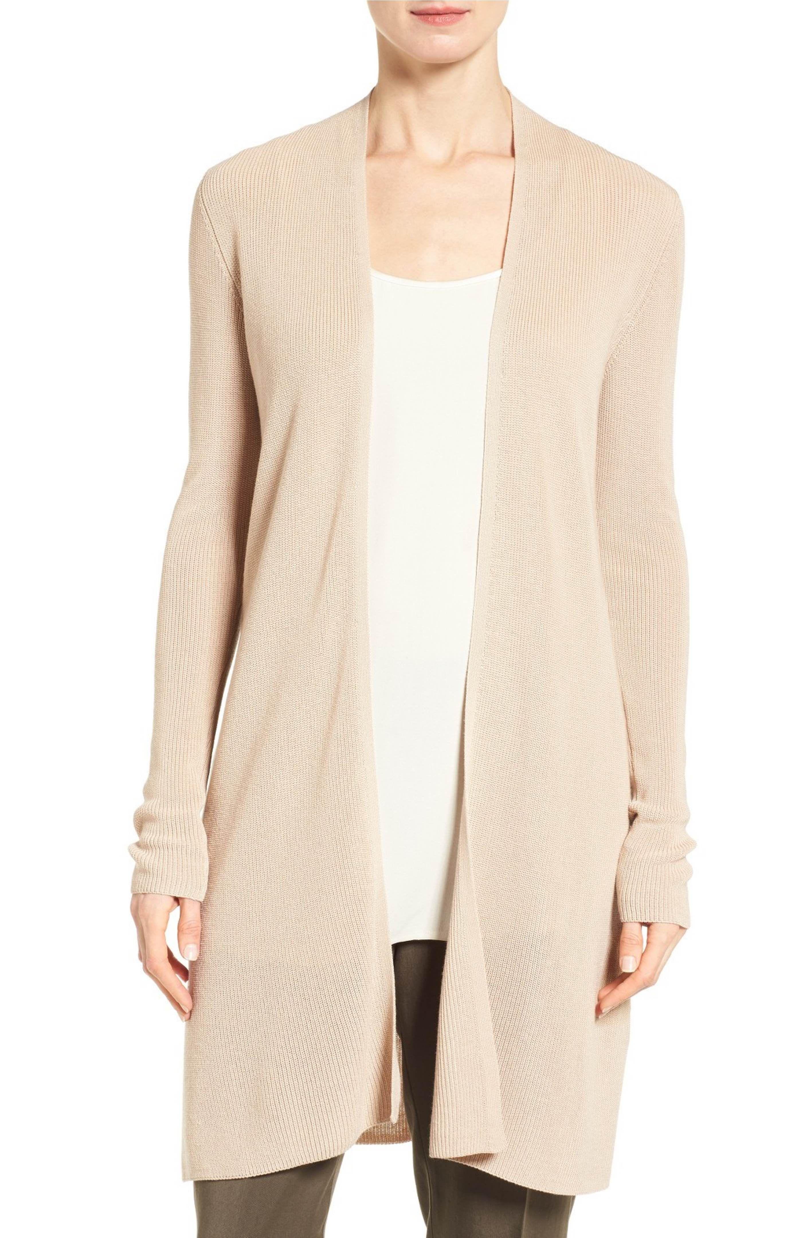 Main Image - Eileen Fisher Sleek Ribbed Tencel® Long Cardigan ...