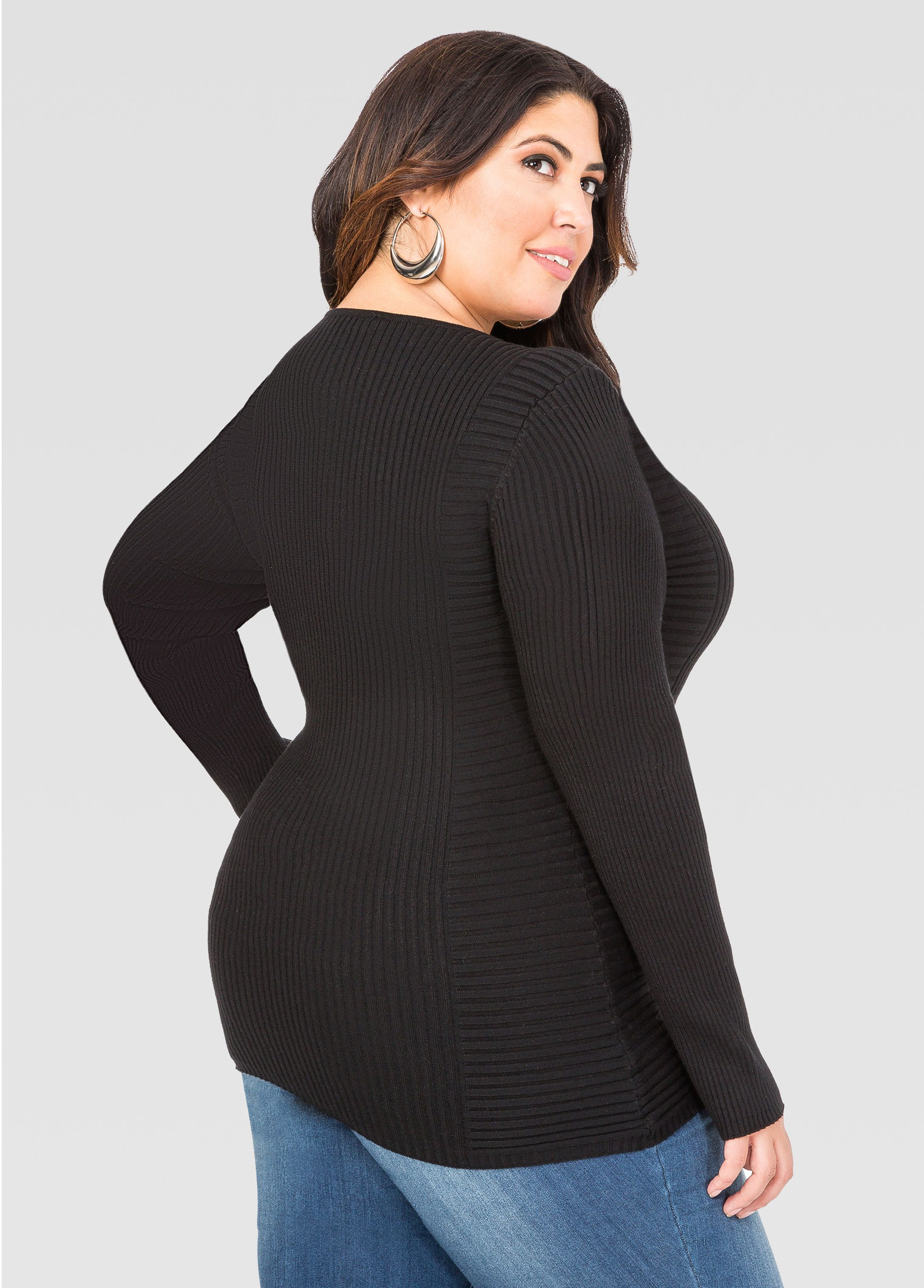 e53cf1203d6 Ribbed Fitted Sweater - Ashley Stewart