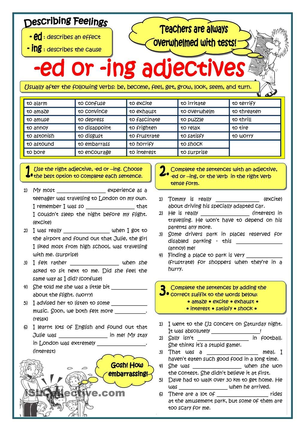 ADJECTIVES ENDING IN -ED OR -ING  English Language, ESL, EFL  math worksheets, alphabet worksheets, education, worksheets, and multiplication Suffix Ed And Ing Worksheets 1440 x 1018