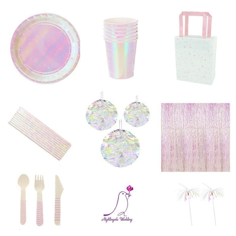Glitter Pink Party Tableware Princess Party Supplies Wedding