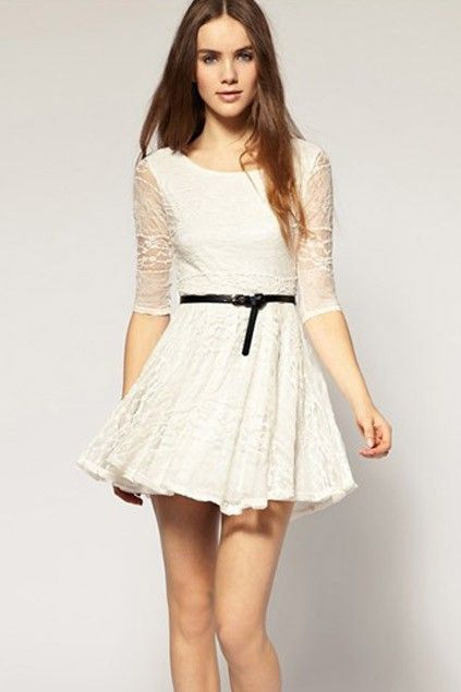 white-princess-lace-dress-with-medium-sleeve | Boho | Pinterest ...