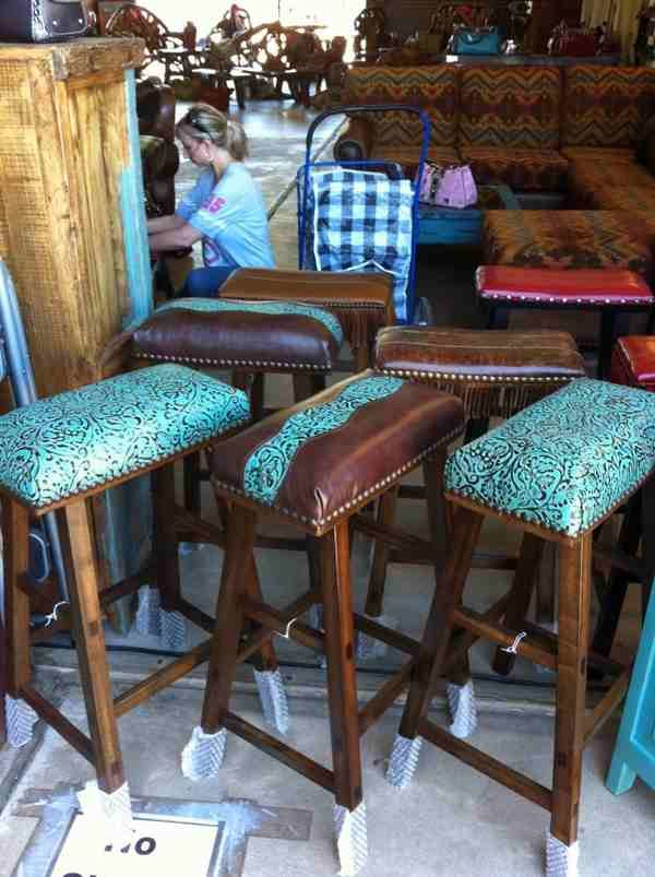 Cowhide Western Furniture Co barstools in turquoise tooled leather & Cowhide Western Furniture Co ...........this company is AWESOME ... islam-shia.org