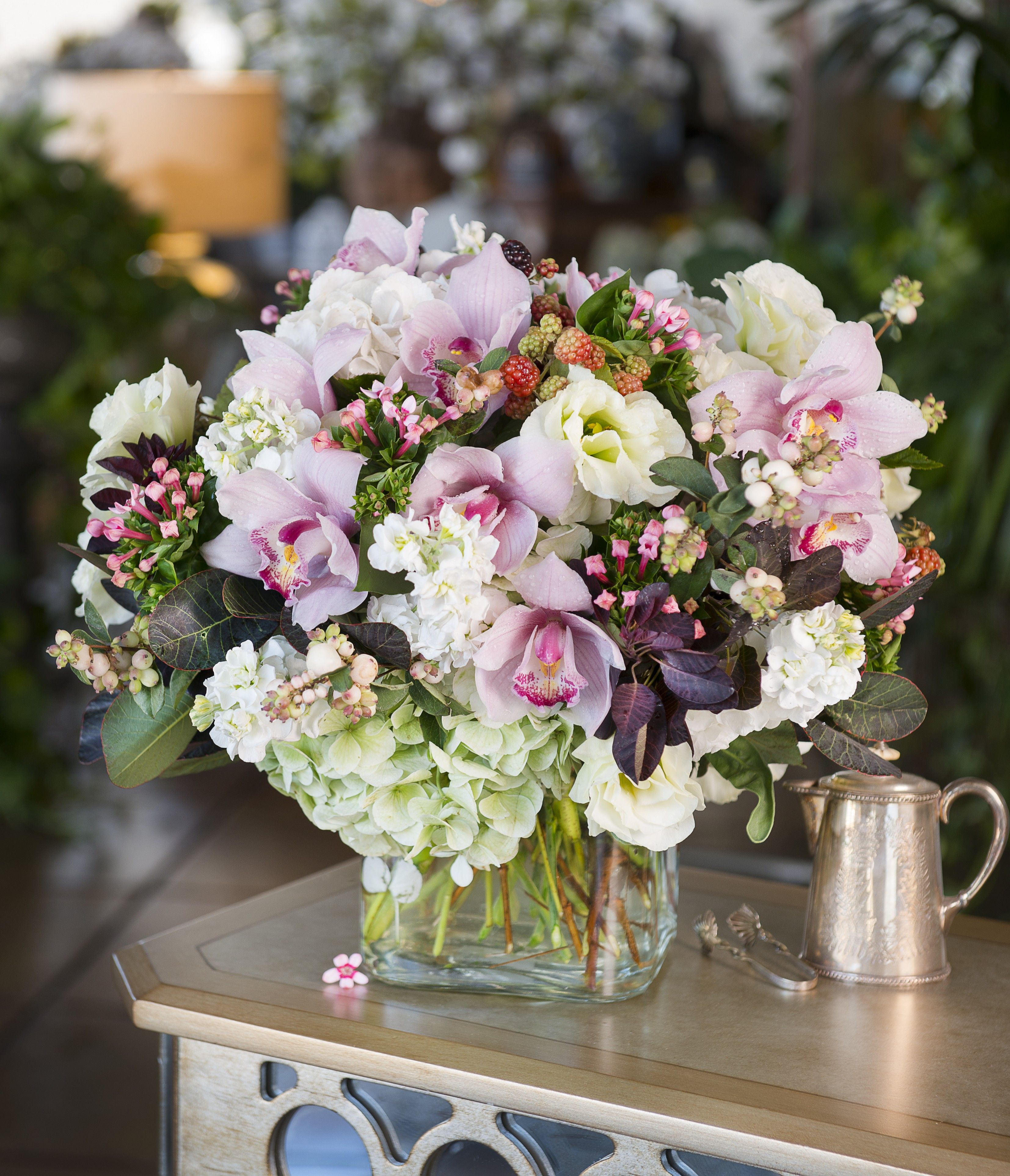 Queen For A Day Cymbidium Orchid & Hydrangea Bouquet In