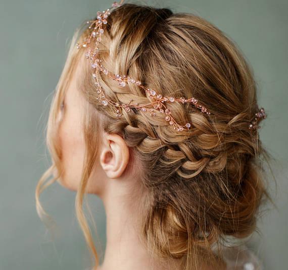 Rose Gold Hair Piece Flower Girl Crown Wedding Headband Bridal Etsy Rose Gold Hair Piece Bride Hair Vine Gold Hair Piece