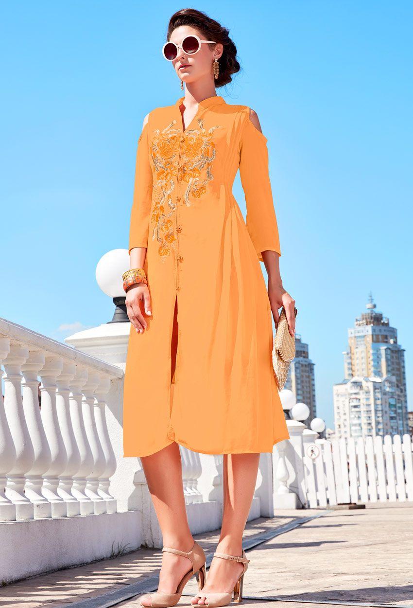 01215c44a5 Readymade Orange Faux Georgette Kurti #sales #offers #valentinesalesoffer  #valentinesale #valentinegift #