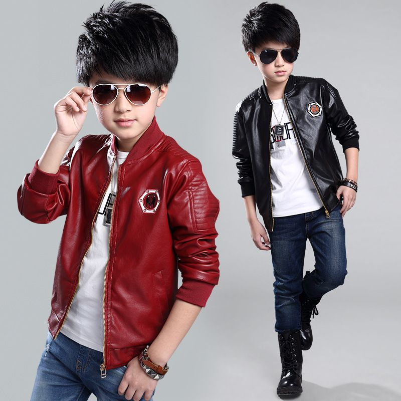 16280609fe52 Teenage Boys Bomber PU Leather Jacket 2017 Brand New Year Kids ...