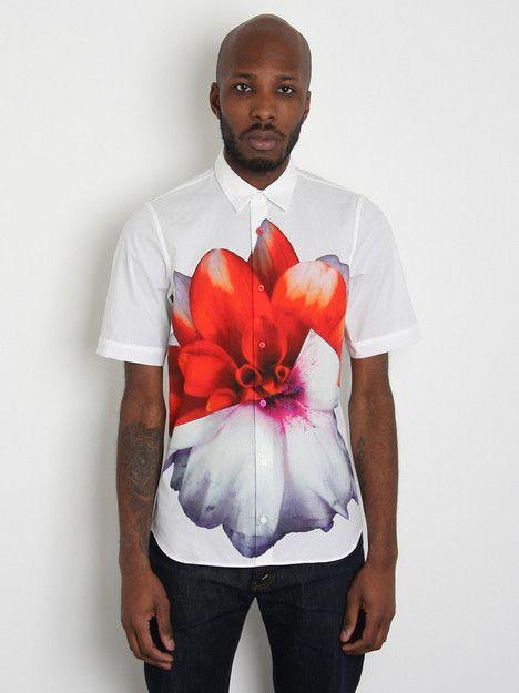 Jil Sander Men's Gallery Print Short Sleeve Shirt in white / red / purple ($100-200) - Svpply